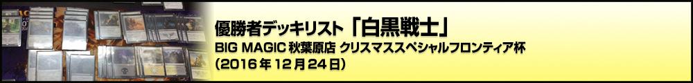 BIG MAGIC秋葉原店 クリスマススペシャルフロンティア杯 優勝者デッキリスト「白黒戦士」(2016年12月24日)